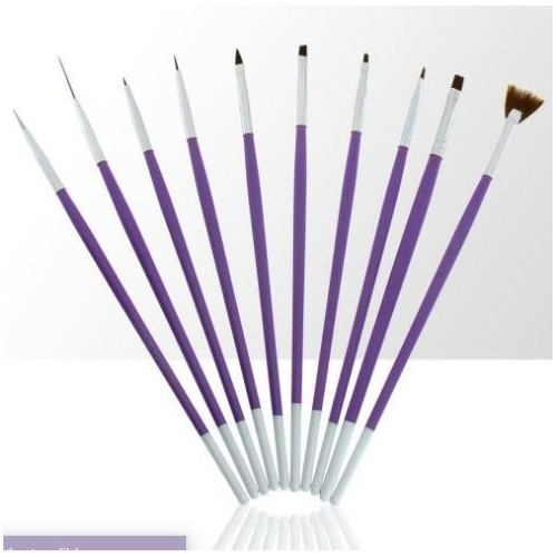 Pędzelki do żelu, akrylu i zdobień fioletowe 10szt
