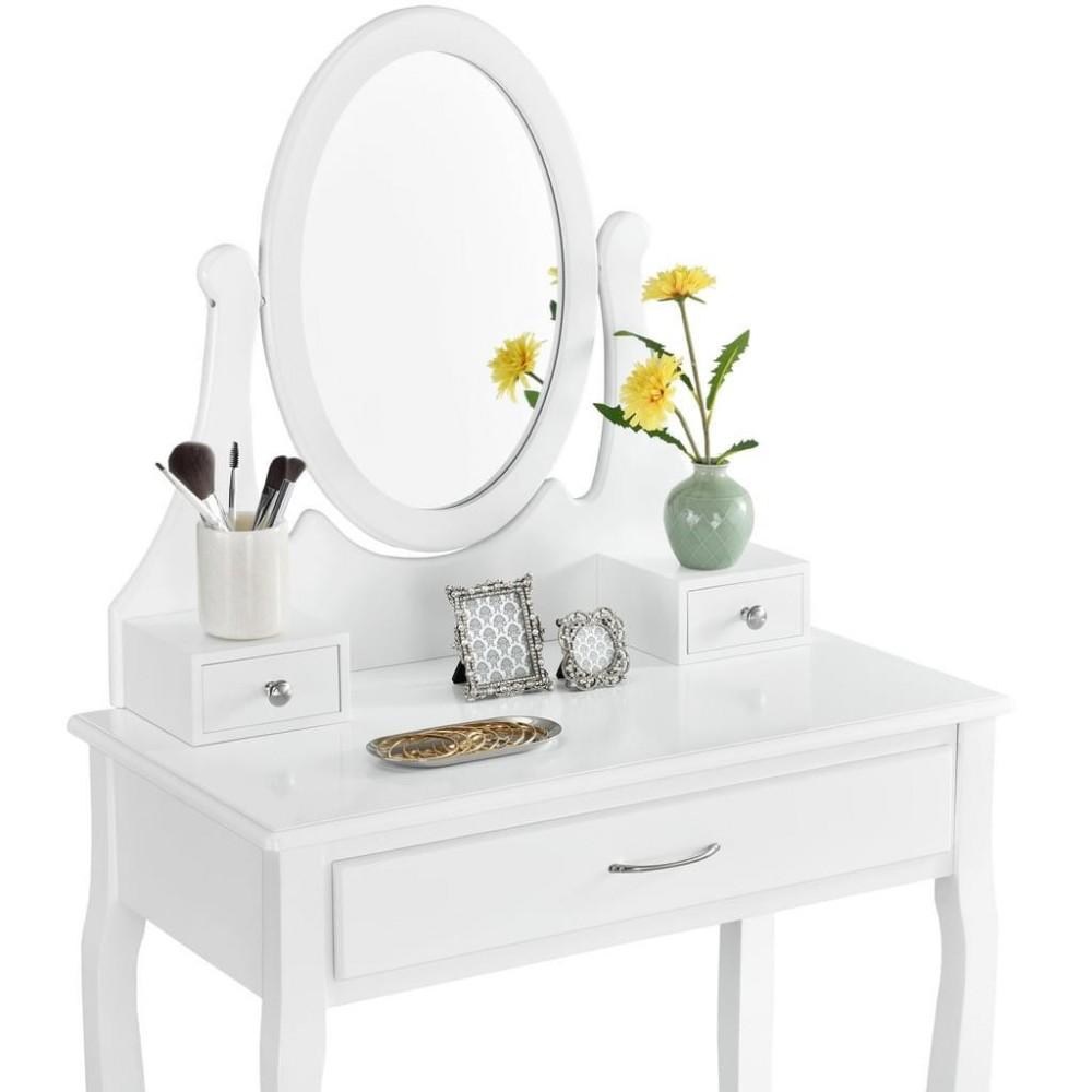 Toaletka biała LENA lustro 3 szuflady + taboret