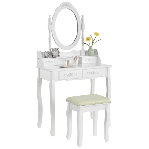 Toaletka biała MIRA lustro 4 szuflady + taboret