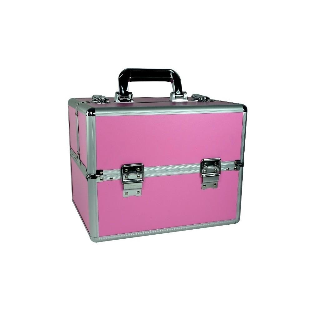 Kuferek kosmetyczny mały 2 półki różowy