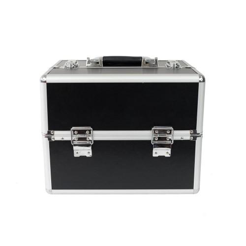Kuferek kosmetyczny mały 2 półki czarny