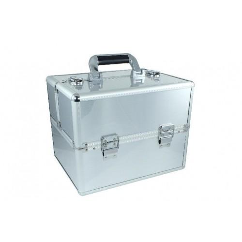 Kuferek kosmetyczny mały 2 półki srebrny