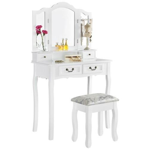 Toaletka biała EMMA 3 lustra 4 szuflady +taboret